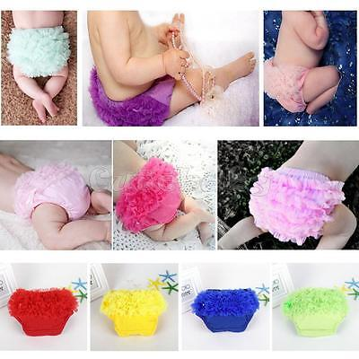 Newborn Baby Girl Cotton Tulle Ruffle Nappy Diaper Cover Bloomers Panties 3-24M