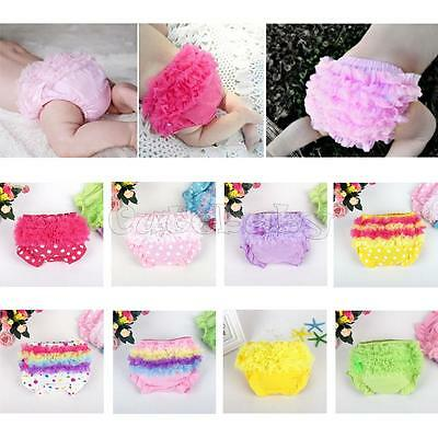 Newborn Baby 3-24M Girls Cotton Lace Ruffle Nappy Diaper Cover Bloomers Panties