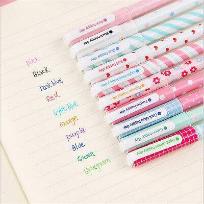 10pcs School Students 0.38mm Pen Nice Colorful Mixed Color Gel Ball Point Pens