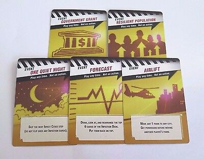 Pandemic Replacement Event Game Card Set 5pc