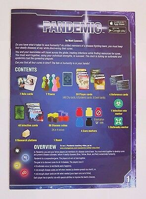 Pandemic Replacement Original Game Rules Instruction Booklet