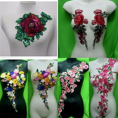 Hot Rose Flower Motif Collar Sew on Patch Applique Badge Embroidered Bust Dress