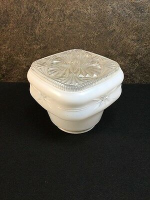 Antique Frosted Glass Lamp Shade Ceiling Fixture Cut Crystal Pattern RARE #E1