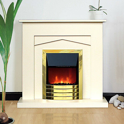 Fireplace Suite Electric Fire Heater Surround Back Panel Hearth Cream Brass,