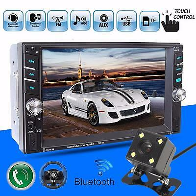6.6'' 2 DIN Car MP3 MP5 Player Bluetooth Touch USB AUX FM Stereo Radio + Camera
