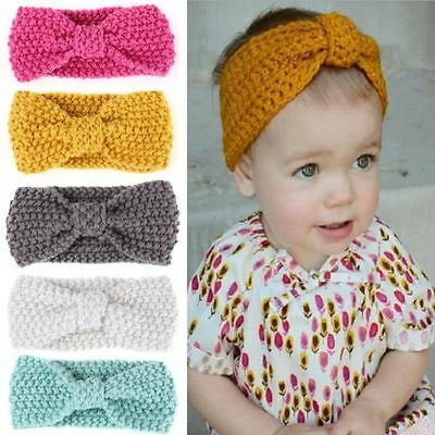 Cute Girls Kids Baby Toddler Crochet Bow Headband Hair Band Accessories Headwear