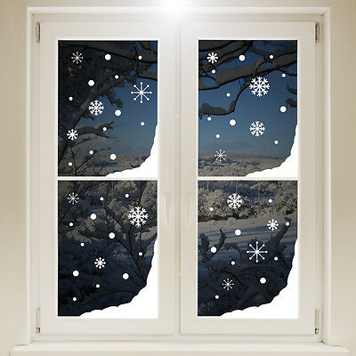 Christmas Snow Corners Window Sticker - White Snowflakes Xmas Decoration Decal