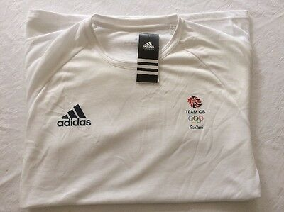 Official Athlete Issue TEAM GB Rio 2016 Olympic Games ADIDAS Cotton T-Shirt NEW