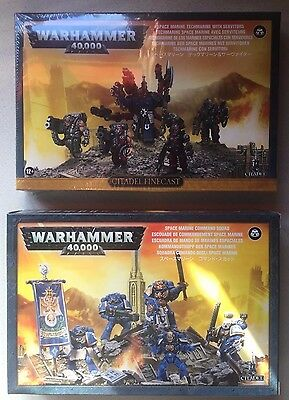 Warhammer 40K NEW Space Marine Command Squad & Techmarine and Servitors Finecast