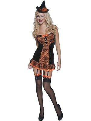 New Halloween Ladies' Pin-Up Witch Costume Medium Uk 12-14 Orange & Black Sexy!