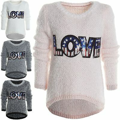 Mädchen Kinder Winter Strick Pullover Strick Langarm Sweat Shirt Pulli Hoodie