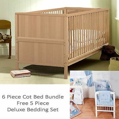 New 4Baby Natural Beech Classic 6 Piece Cot Bed Bundle