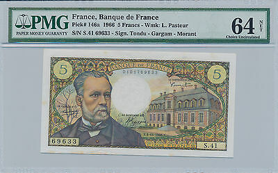 France 5 Francs 1966 Pick# 146a - PMG 64 Choice Uncirculated NET