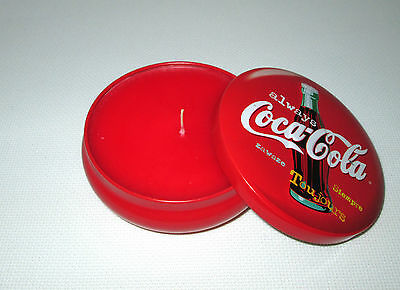 1999 Coke Brand Wick 'N Tin Button Candle - Always Coca-Cola