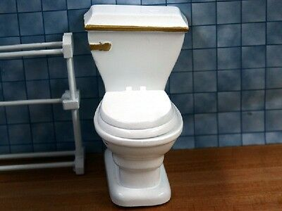 White Toilet With Gold Trim, Dolls House Miniatures, 1.12 Scale, Bathroom WC