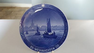 RARE! Royal Copenhagen 1930 Fishing Boats On Way To The Harbour Christmas Plate