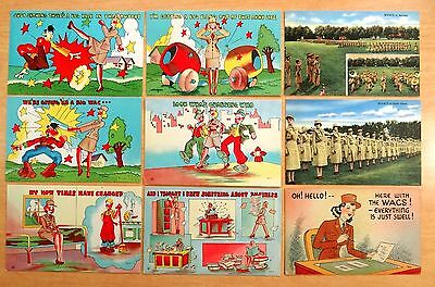 WACS 9 Postcards Women's Army Corps Anti-Hitler Germany World War II Military