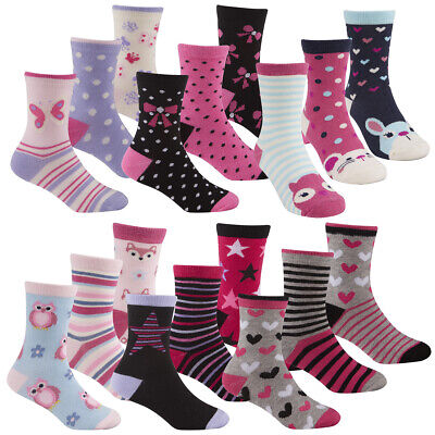 Kids Girls Childrens Socks Colourful Soft Cotton Cute Multipack Novelty Warm New