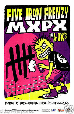 FIVE IRON FRENZY & MxPx 2015 Gothic - Denver 11x17 Concert Flyer / Gig Poster
