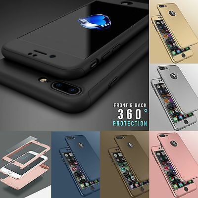 New Hybrid 360° Hard Ultra thin Case+Tempered Glass Cover For iPhone 5 6 6S Plus