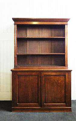 Antique oak bookcase cupboard