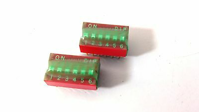 2 Pcs Switch 6 POS Pitch 12 DIP Slide Sealed Raised Thru Hole Gold Pins New