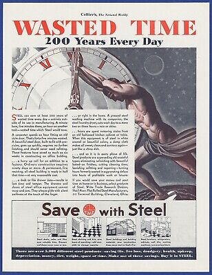 Original Vintage 1931 SAVE WITH STEEL Workers RARE Art Decor Print Ad 1930's