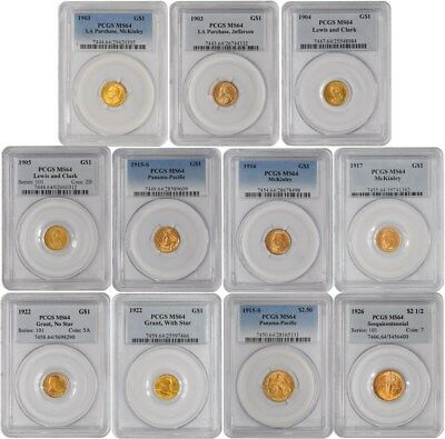 1903-1926 Gold Commemorative Set 11 Piece MS64 PCGS