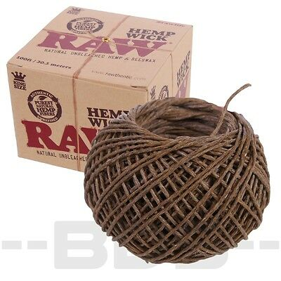 RAW Hemp Wick Lighter Natural Beeswax 100 Foot Spool Roll Ball Unbleached