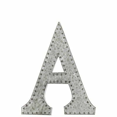 Metal Wall Decor Letter A With Rivets - Galvanized Zinc