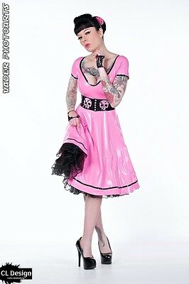 CL Design Latex Kleid Swinging Skull Rockabella Fifties Dress Petticoat Rubber