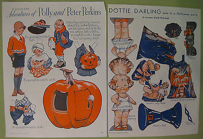 Bundle of Two 1933 Pictorial Review Magazine Halloween Feature Paper Dolls