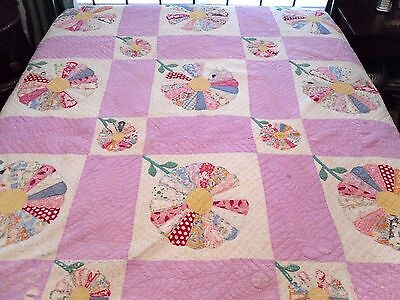 """Antique Patchwork Quilt Cutter Feedsack Fabric Dresden Plate Hand Quilted 71X84"""""""