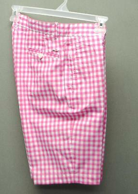 NWOT Mens Size 32 Ralph Lauren RLX Pink White Checked cotton poly golf shorts