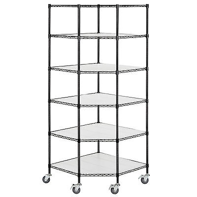Adjustable 6-Tier Corner Unit Storage Steel Shelf Wire Shelving Heavy Duty Rack