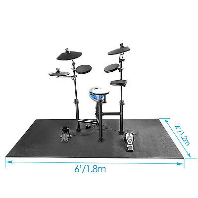 Neewer Black 6 x 4 Feet Non Slip Drum Mat with Nylon Carrying Bag for Bass Drum