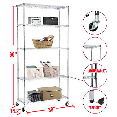 BN Adjustable 5 Tier Wire Shelving Rack Heavy Duty Chrome Steel Shelf W/Wheels