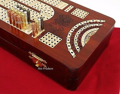"14"" 4 TRACK CONTINUOUS Cribbage Board BLOODWOOD Skunks Corner Games Won Hinge Bx"