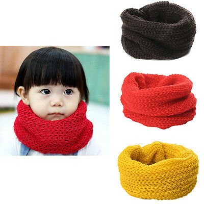 Winter Warm Soft Candy Color Wool Scarf Kids Baby Knitted Collar Neck Warmmer