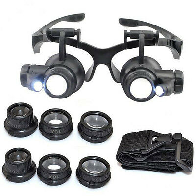 8 Lens Double LED Eye Jeweler Watch Repair Magnifying Glasses Magnifier Loupe