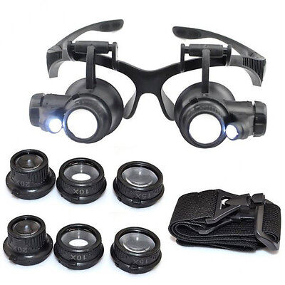 LED Magnifier Magnifying Eye Glass Loupe Jeweler Watch Repair Kit 10/15/20/25X