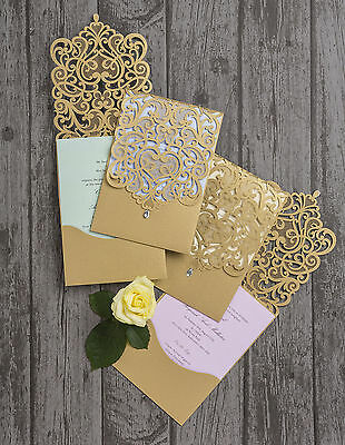 Gold Diamante Laser Cut Pocketfold Personalised Wedding Day Invitation Invite
