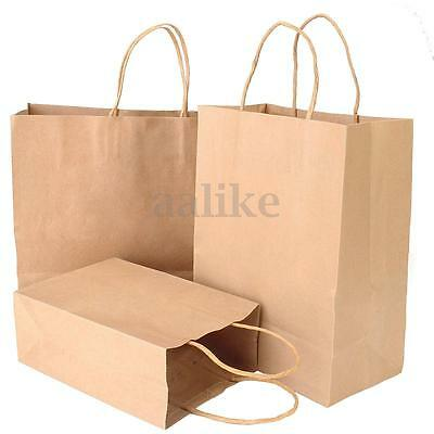 1~50PCS Bulk Kraft Paper Gift Carry Shopping Bags Retail Food Rope Bag Party New
