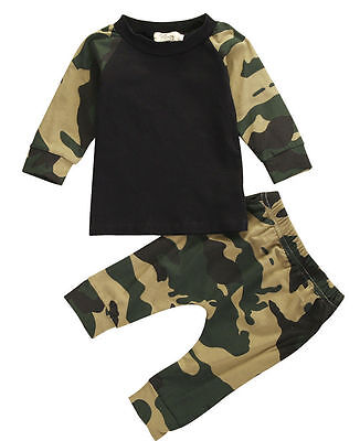 Cute Camouflage Newborn Baby Boys Kids T-shirt Top+Long Pants Outfit Clothes Set