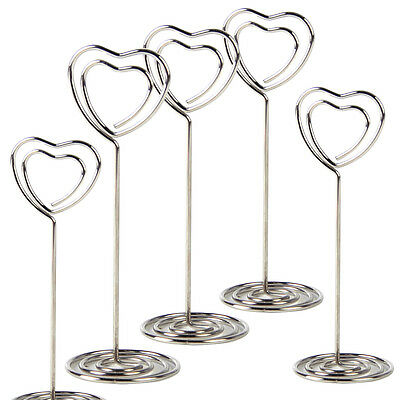24X Heart Memo Note Card Photo Picture Wire Clip Base Holder Stand Table Display