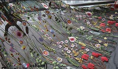 "1 Yard Lace Fabric Black Tulle Exquisite Floral Alice Embroidered Dress 51"" wide"