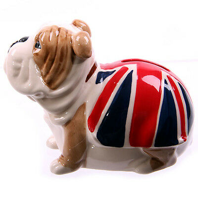 Fun Novelty Ceramic British Bulldog Union Jack  Money Box Piggy Bank Coin LON21