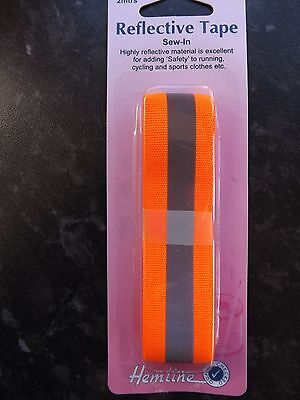 Hemline Reflective Sew In Tape - 2m x 25mm Orange with silver - Hi Visibility