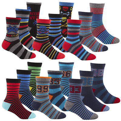 Kids Childrens Boys Novelty Cotton Socks Football Gaming Multipack 6 - 9 Pairs