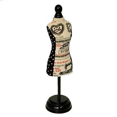 Stylish Vintage Style Drapery Dot Pincushion Dress Form with Black Wooden Stand